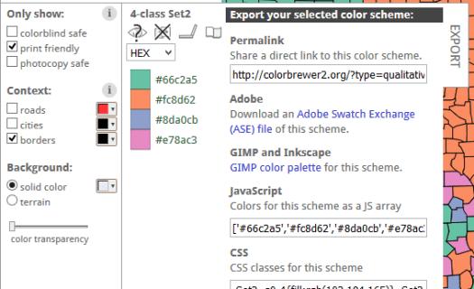 options d'export de la palette