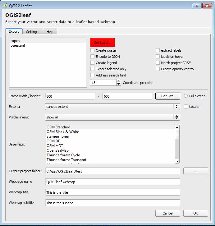 paramétrage du plugin qgis2leaf