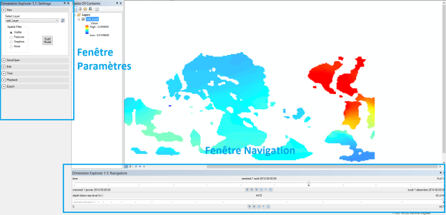 affichage des fenêtres de Dimension Explorer dans ArcMap