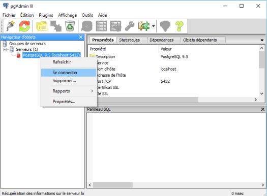 écran de démarrage de pgadmin III