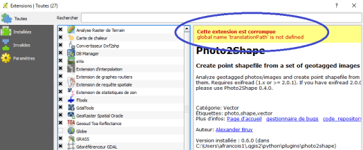 message d'erreur de photo2shape global name 'translationPath' is not defined