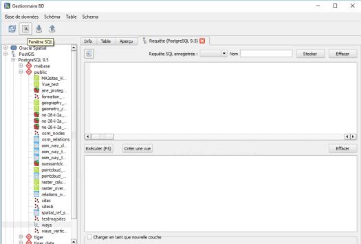 fenêtre sql du gestionnaire de bases de données de qgis