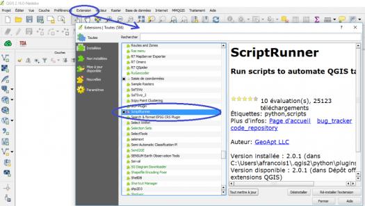activation du plugin script runner de qgis