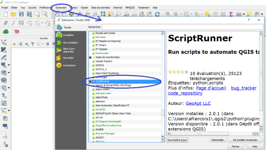 activation du plugin script runner de qgis