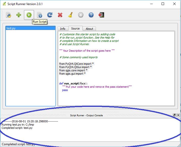 console de sortie du plugin script runner de qgis