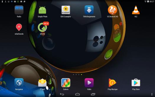 icone qfield sur le bureau du dispositif mobile