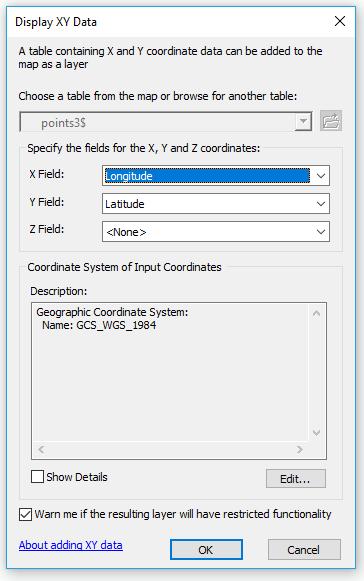 paramétrage de la couche d'événements XY dans arcmap
