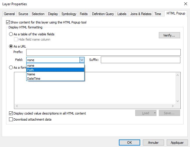 configuration du popup html après  l'outil de la toolbox geotagged photos to points