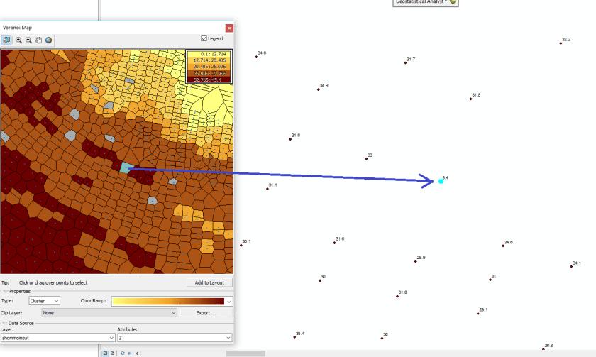 lien entre les polygones de voronoï des clusters et la carte des points de mesure