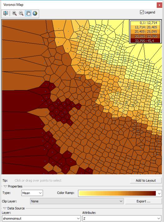 carte des polygones de voronoï des moyennes