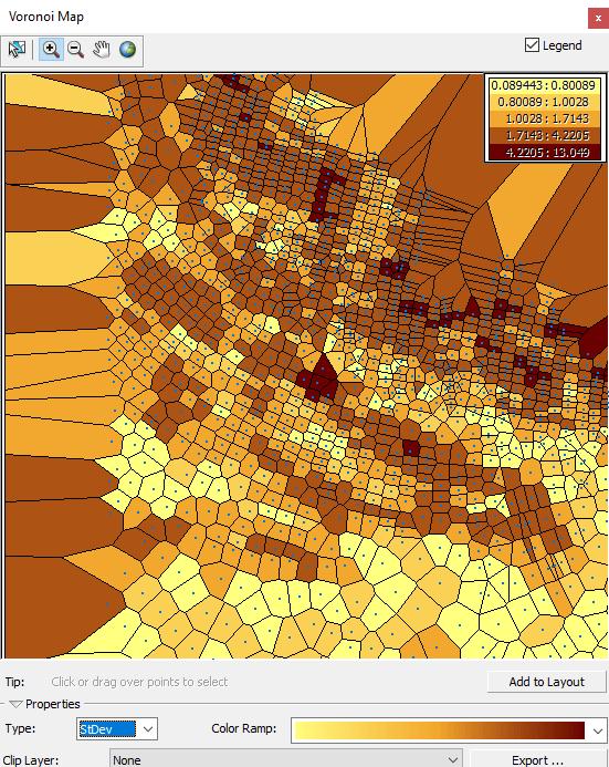carte des polygones de voronoï des écarts-type