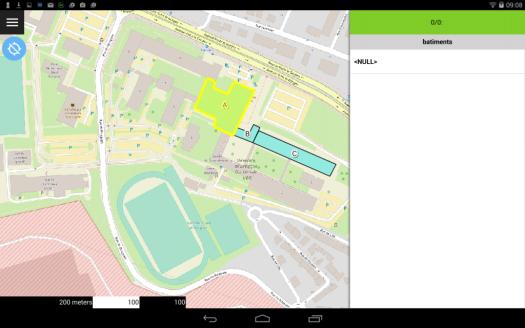 mode parcouyrir de qfield sur le dispositif mobile android