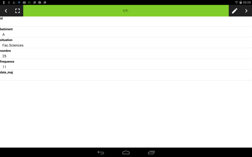 édition de la table attributaire de qfield  sur le dispositif mobile android
