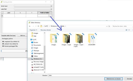 option parcourir pour pointer sur le répertoire de photos à geotagger