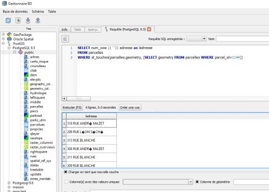 exécution de la requête dans le gestionnaire de bases de données de qgis