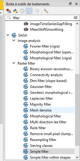 Tutoriel classification d'images avec QGis: 2 3- Les filtres