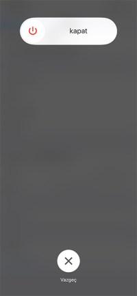 iPhone RAM Temizleme Kapatma Ekranı