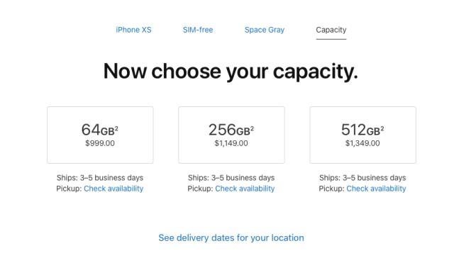 iPhone XS Depolama Seçenekleri