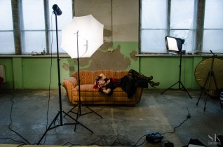 One example of the lighting set-ups used. Notice the workaround for the missing umbrella holder?