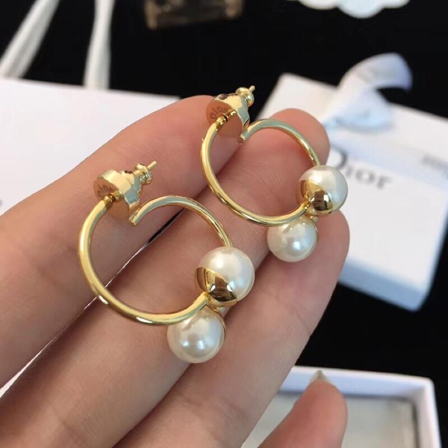 Dior 純銀耳針雙珍珠彎勾耳環|Dior 純銀耳針雙珍珠彎勾耳環
