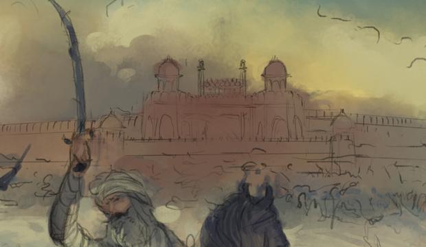 Bhai Baghel Singh ji, Delhi, Red Fort, Capturing, Khalsa, Singh, Sikh Art, Punjab Art, Indian Art, Military Art