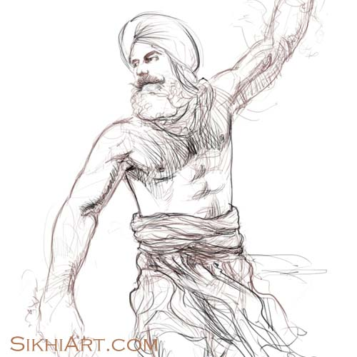 Prince of Patiala, Warrior, Sikh Warrior, Sikh fantasy painting, Drawing, Sketch