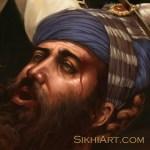 Wounded Guru Gobind Singh, Dashmesh Pita, in Mughal Soldier, Bhai Kanhaiya, Bhai Ghanaiya, Sikh, Bhagat Singh, Sikhi Art, Sikh Art, Punjab Art, Battle of Anandpur Sahib