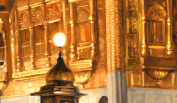 Golden Temple, Harmandir Sahib, Amritsar, Punjab, Sikhi Art, Sikh Art, Paintings, Punjab Art, Bhagat Singh Bedi