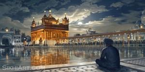 Golden Temple at Night, Amritsar, Punjab, Harmandir Sahib, Harimandir, Hari Mandir, Darbar Sahib, Meditating, Man, Naam Simran, Moon, Baba Attal Rai Gurudwara, Boonga, Bhagat Singh Artist, Sikhi Art