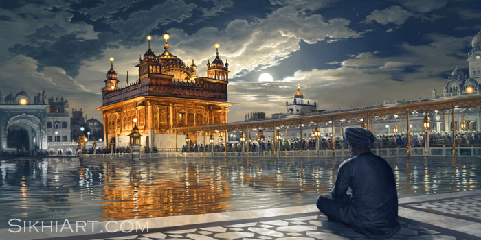 Golden Temple Painting, Golden Temple in Moonlight, Harmandir Sahib Art, Harimandir, Hari Mandir, Meditating, Man, Naam Simran, Moon, Baba Attal Rai, Gurudwara, Boonga, Bhagat Singh, Painting, Amritsar, Punjab Art, Sikhi Art, Golden Temple Canvas, Golden Temple Art, Golden Temple of Punjab, Sikh Art for Home Decor, Bhagat Singh Bedi, Sikh Gifts, Sikh wall art, Punjabi Paintings, Sikhism paintings