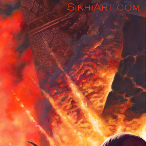 Blind Chakram on Howdah, Explosion, Chaos, Two Nihangs Defend Temple, Demons, Elephant, Howdah, Lightning, Akali, Chakra, Sikhi Art, Bhagat Singh Bedi