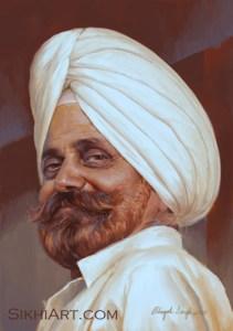 Sardar Daljit Singh Bedi, Father Portrait, Comission Art