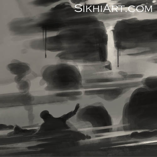 Sant Jarnail Singh ji Bhindranwale - Corpses Detail - Operation Blue Star - Indian Army Tanks by Bhagat Singh Bedi of Sikhi Art