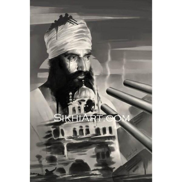 Sant Jarnail Singh ji Bhindranwale - Operation Blue Star - Indian Army Tanks - Akal Takhat by Bhagat Singh Bedi of Sikhi Art