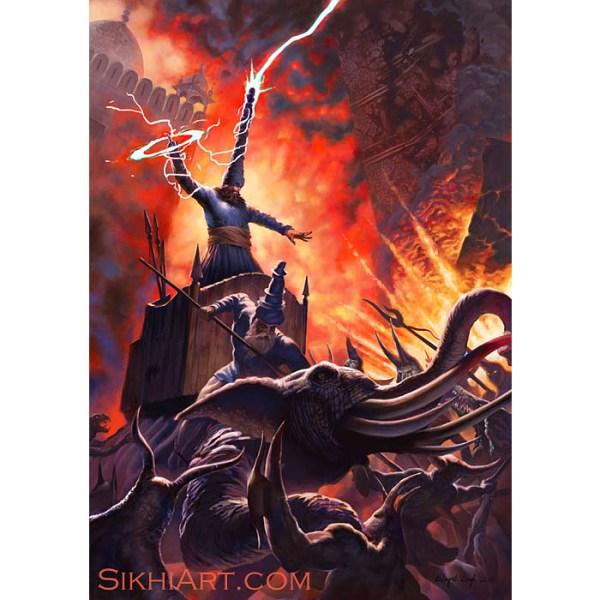 Blind Chakram on Howdah, Charging Chakram, Two Nihangs Defend Temple, Demons, Elephant, Howdah, Lightning, Akali, Chakra, Sikhi Art, Bhagat Singh Bedi