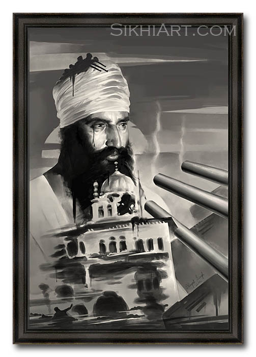 Sant Jarnail Singh ji Bhindranwale - Operation Blue Star - Indian Army Tanks - Akal Takhat by Bhagat Singh Bedi of Sikhi Art