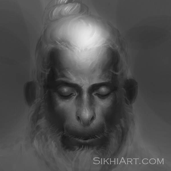 Hanuman ji Meditating, Monkey God, hanuman Langur, Hindu Gods, Sikhi, Art, Punjab, Drawings, Sketches, Bhagat Singh Bedi