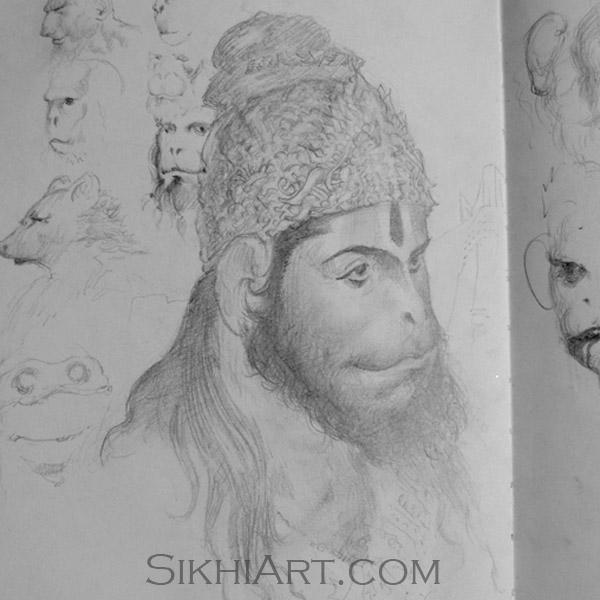 Hanuman ji Portrait, Monkey God, Hindu Gods, Sikhi, Art, Punjab, Drawings, Sketches, Bhagat Singh Bedi