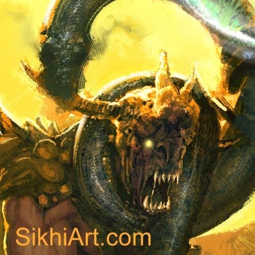 Snake strangles demon, Snake Charmer Fights the Demons, Akali, Nihang, Warrior, Sikh Awarrior, Turban, Dastaar Boonga, Khalsa, Sikh Art