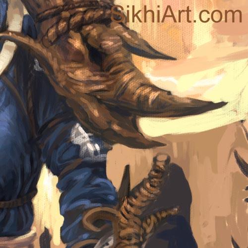 Akalini, Akali Warrior Monk, Nihang, Warrior, Sikh Awarrior, Turban, Dastaar Boonga, Khalsa, Sikh Art