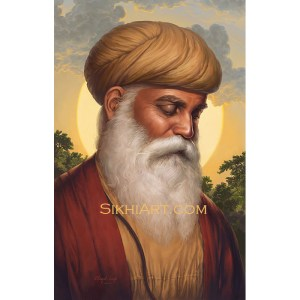 Adi Guru - Guru Nanak Dev ji Portrait Painting, Sikh Gurus Art, Meditation Dhyan Sikh Art Punjab Painting Bhagat Singh Bedi, artist punjab