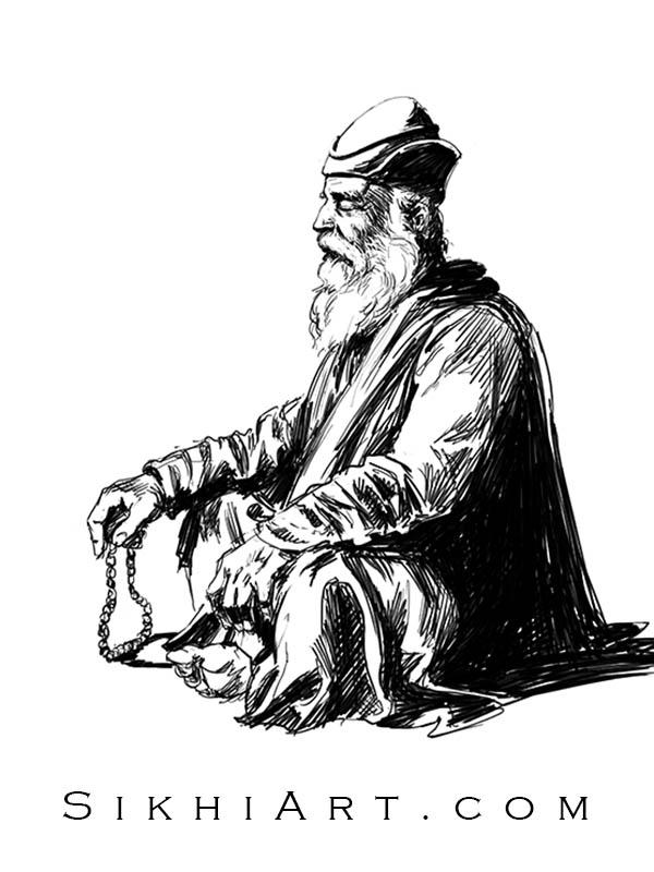 Adi Guru in Meditation, Guru Nanak Dev ji, Portrait Painting, Meditation, Dhyan, Sikh Art Punjab Painting Bhagat Singh Bedi