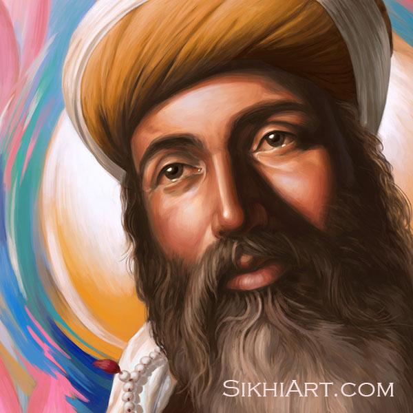 Guru Arjan Dev ji, Spiritual Blossoming, Sikh Gurus, Sikh Art by Bhagat Singh Bedi