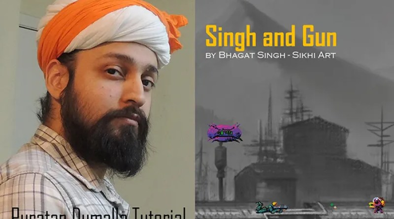 Sikh Artist, Bhagat Singh Bedi, Puratan Dumalla, Gurus' Turban, Sikh Turban, Mughal Turban, Rajput Turban, Punjab Art, History and Heritage, Sikhism paintings, Singh and Gun, Sikh Video-game