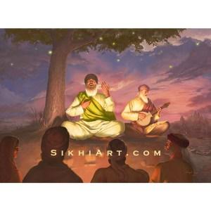 Guru Nanak Dev ji -Shabad Vichar - Sikh Art by Bhagat Singh Bedi