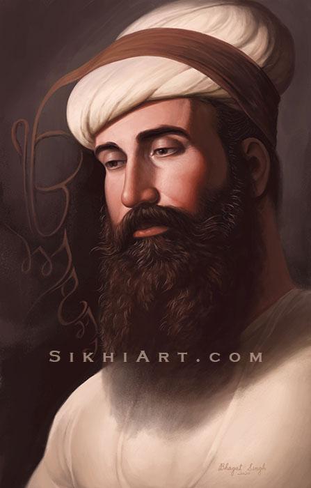 Guru Angad Dev ji, Second Guru of the Sikhs, Sikh Philosophy, Painting by Artist Bhagat Singh Bedi