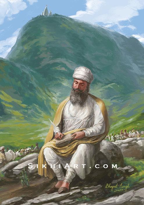 Guru Tegh Bahadur ji Meditating in Bakala, Sikh Art, Bhagat Singh Bedi