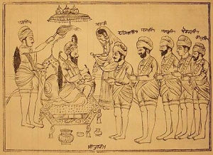A depiction of Guru Gobind Singh initiating the first five members of the Khalsa Woodcut, Amritsar or Lahore, about 1874-5
