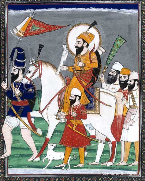 Painting of Guru Gobind Singh and Attendants ca. 19th century (photo: sikhmuseum.com)