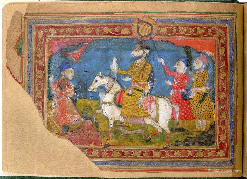 Painting of Guru Gobind Singh and attendants, circa 1800 (source: sikhmuseum.com)